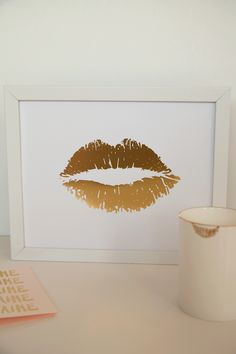 Lippy Lippy Gold Foil Lip Print 8x10, Home Decor, Letterpress, Wall Art…