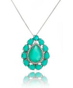 semi joia colar de gota grande esmeralda leitosa prata
