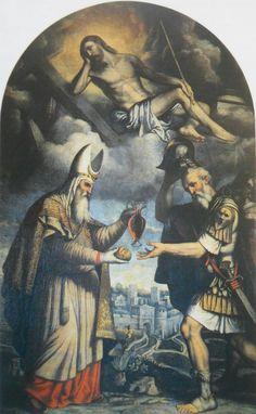 Melchisedec offre pane e vino al patriarca Antamo. 1550-1554. Chiesa di San Clemente.  Brescia