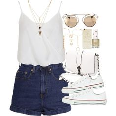 Outfit for summer with converse by ferned on Polyvore featuring Miss Selfridge, Converse, Forever 21, Christian Dior, Topshop, women's clothing, women's fashion, women, female and woman