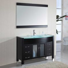 furniture charming black bathroom vanity without sink with frosted glass countertop and integrated hand wash basin with polished chrome faucets above grey porcelain floor tiles