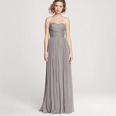 j.crew wedding line...love pale grey for bridesmaids!! maybe even MORE pale would be better. like, icy grey. with chartreuse + blush!!!! :)