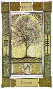 """Aspen"" Ogham: Eadhadh. Denotes Illness and healing,    A passing fragility could make you lose some of your inner strength. This Ogham predicts healing. Reassure yourself that your fears and worries are only manifestations of your current state mind and fears. Most fears experienced never become a reality."