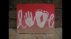 Love handprint and footprint canvas