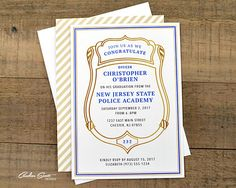 Police officer retirement invitation with badge number do it police academy graduation classic invitation with class number diy printable file solutioingenieria Images