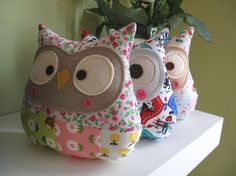 Use leftover bits of your beloved old dresses to make into a nice stuff toy for your kids... owl pillows, stuffed toys, sew, craft, baby gifts, scrap fabric, stuff toy, diy, owls