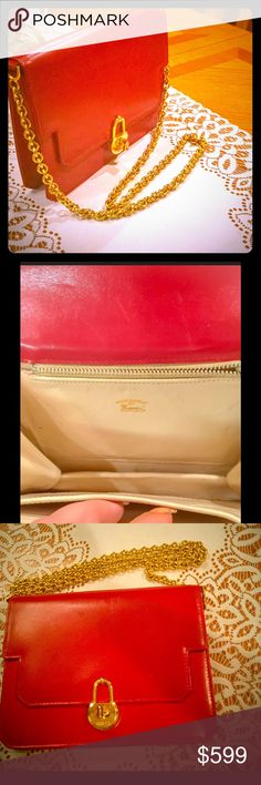Auth. Gucci Shoulder Purse Medium Red Gorgeous Authentic 100% Guaranteed is this Gucci Medium Shoulder Purse Red genuine soft leather with gold hardware, gold tone hardware heavy solid shoulder strap chain not faded or tarnished. The bag is made in Italy and is in very good condition in and out, other then a scratch on the back of it( pls refer to picture) however nothing major. Very unique limited edition collectible hard to find!! Bags Shoulder Bags