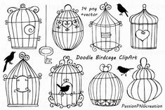 Doodle Birdcage ClipArt Wedding bird cages by PassionPNGcreation