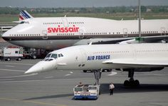 Concorde: Air France. (With Swiss Air Extended Boeing 747 in the background.)