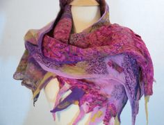 Merino and Silk Hand Dyed Nuno Felted Scarf by SuzannesHandmade, $85.00