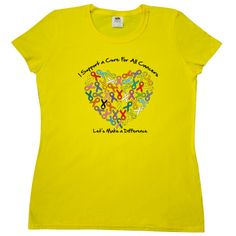 I Support a Cure For All Cancers...Let's Make a Difference Women's T-Shirt  featuring colorful awareness ribbons shaped into a heart to support your causes $19.99 awarenessribboncolors.com #cancerawareness