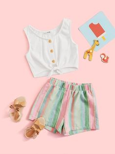 Multicolor Boho Sleeveless Polyester Striped Slight Stretch Summer Girls Two-piece Outfits, size features are:Bust: ,Length: ,Sleeve Length:Sleeveless Girls Fashion Clothes, Girl Fashion, Fashion Outfits, Kids Clothing, Two Piece Outfit, Summer Girls, Cool Outfits, Gym Shorts Womens, Short Dresses