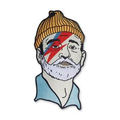 "Our classic Zissou Sane design as a back patch. We love this on denim.  Bill Murray as Steve Zissou as David Bowie as Aladdin Sane. A tribute to a fantastic film with a fantastic sound track.  12"" tall embroidered back patch with iron on backing."
