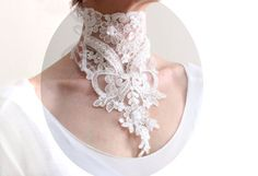 Victorian white lace choker necklace bridal gothic by DoveGlove