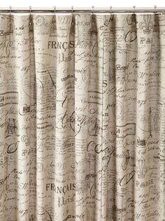 Chateau Blanc Script Shower Curtain