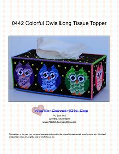 Colorful Owls Long Tissue Topper-Plastic Canvas Pattern-PDF Download