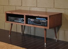 Pictures of Mayan Double Bay - Mocha Mid Century Modern TV Stand Console