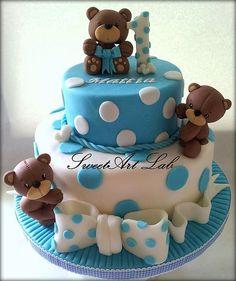 Lovely idea for baby birthday cake. Baby Boy Cakes, Baby Shower Cakes, Fondant Cakes, Cupcake Cakes, Bolo Do Mickey Mouse, 1st Birthday Cakes, Baby Birthday, Chocolate Diy, Kolaci I Torte