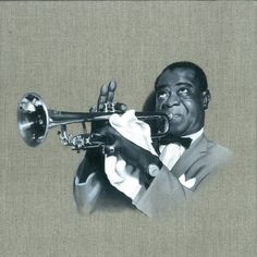 Louis Armstrong Acrylic photorealistic painting by Madison V Gee, Manchester artist