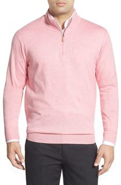 Peter Millar Regular Fit Cotton & Cashmere Quarter Zip Sweater available at #Nordstrom