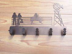 Western Cowboy Rodeo Metal Coat Rack Hat Rack by MadMetalWorks