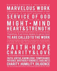 Doctrine & Covenants 4 LDS missionary print
