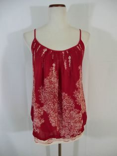 NWT GORGEOUS CAbi Size M CRIMSON RED PRINTED PEASANT STYLE BLOUSE/TOP  #CAbi #PeasantStyleBlouse #any