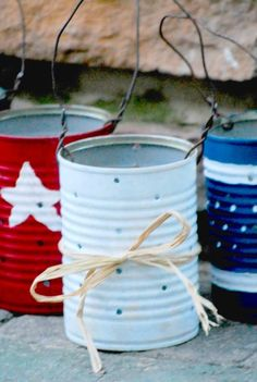 DIY 4th Of July Decor: Patriotic Candle Holders Using Tin Cans