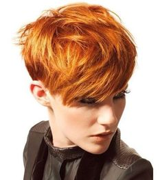 red messy pixie hairstyle