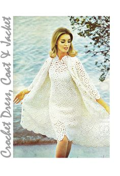 "Vintage Crochet Dress Pattern ""COAT & JACKET"" Pattern PDF - Dress Coat / Jacket"