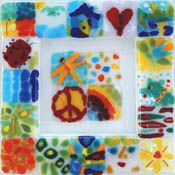 School auction class project, ideas and art themes for your classroom artwork fundraising event. Fused Glass