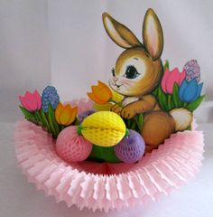 Beistle 1973 Easter Decoration Bunny Nest by ryansnanapie on Etsy, $9.50