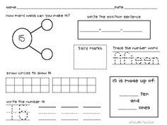 Composing and Decomposing Numbers Number Bonds