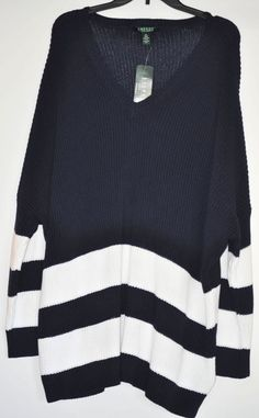LAUREN RALPH LAUREN Women Sweater Plus size 3X Draped Striped Navy White NWT #LaurenRalphLauren #DroppedShoulders #Different