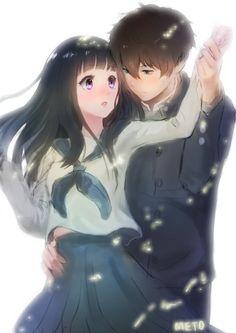 Manga Couple Oreki Hotarou and Eru Chitanda [Hyouka] Manga Couple, Anime Love Couple, Cute Anime Couples, I Love Anime, Manga Girl, Manga Anime, Kyoto Animation, Hyouka, Nisekoi