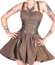 Needs a waist cincher to be perfect Voodoo Vixen Striped Steampunk Dress