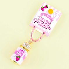 Strawberry Milk Bottle Fortune Telling Charm Glass Milk Bottles, Milk Glass, Drink Bag, Strawberry Milk, Fortune Telling, Cute Charms, Kawaii Shop, Colorful Candy, Welcome Gifts