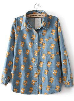 6b950872a25 Light Blue Simpson Print Cartoon Denim Blouse Blue Denim Shirt, Denim  Blouse, Denim Shirts