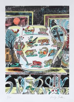 'Lumber Room Jug I' by Emily Sutton (hand-coloured line block print)