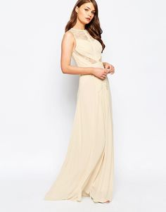 Image 1 ofJarlo Delilah Maxi Dress with Lace Insert Detail