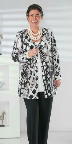 Plus size Box 2 black/grey crepe print v neck jacket, vest and trouser 50 Fashion, Plus Size Fashion, Fashion Outfits, Womens Fashion, Tunic Sewing Patterns, Stitch Fit, Hijab Style, Occasion Wear, Plus Size Women