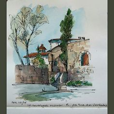 Discovered this courtyard after a long climb up the back alleys  along the Douro river.  The gates were open so I did a quick sketch. Urbansketch Painted on location in Porto Portugal  #landscape #art #original #watercolor #winsorandnewton #watercolour #p