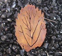 Small Copper Leaf Brooch £10.00
