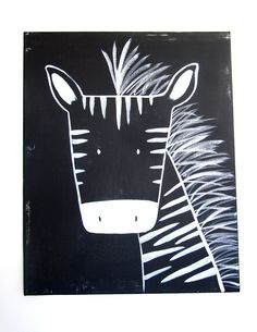 "Modern Kids and Nursery Zebra Art Original Painting - 16"" x 20"" on regular 3/4"" depth canvas - The Zebra. $75,00, via Etsy."