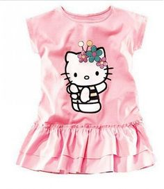 5b32c27a6fe96 2017 New Baby Girls Hello Kitty Dress Kids Kt Clothes Girls' Clothing  One-Piece Cotton Dress