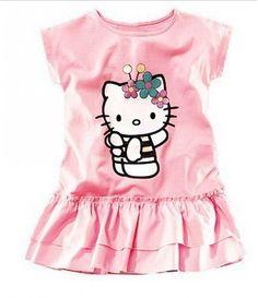 Vestido Hello Kitty Manga Curta Rosa