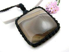 Flint Stone Necklace, Flint stone pendant,   Crystal pendant necklace,  Gemstone , Macrame, Healing Stones and crystals, Funky,  hippy