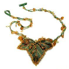 Necklace - Green Grape Leaf