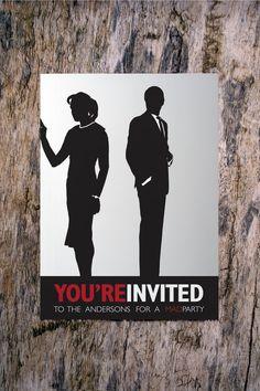 MAD MEN: Custom invitation, Retro vintage mod themed invitation or save-the-date