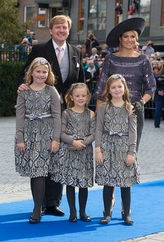 From left to right: Princess Catharina-Amalia, King Willem-Alexander, Princess Ariane, Princess Alexia and Queen Maxima at Prince Jaime of Bourbon-Parma's wedding.